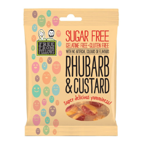 Rhubarb & Custard - Sugar Gelatine Gluten Free Hard Boiled Sweets Free From Fellows 70g